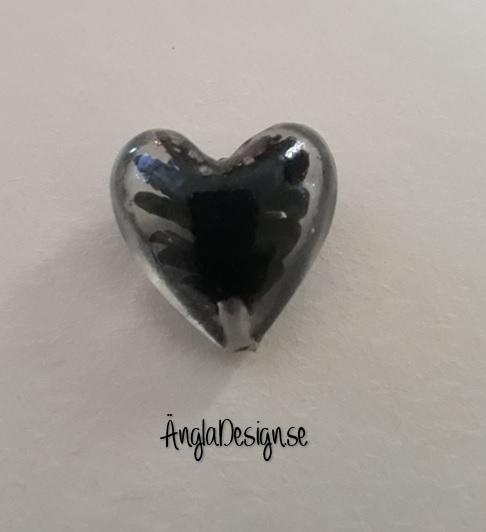 Lampwork handgjort hjärta, klar med svart spiral i, ca 20mm, 1st