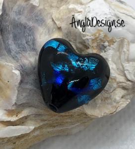 Glaspärla handgjorda lampwork svart hjärta 15mm med blå fläckar i, 1st