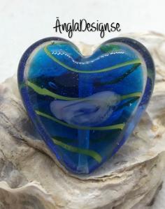 Glaspärla handgjorda lampwork stort hjärta 35mm med ros, blå, 1st