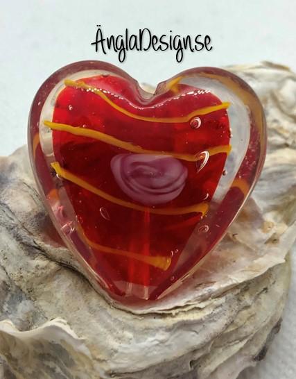 Glaspärla handgjorda lampwork stort hjärta 35mm med ros, röd, 1st