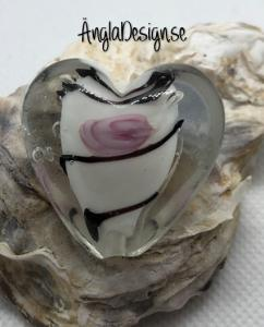 Glaspärla handgjorda lampwork stort hjärta 35mm med ros, vit, 1st