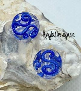 Glaspärla handgjorda lampwork rund platt med s mönster, blå, 1st