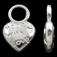 "Berlock ljust silver hjärta ""made with love"", 10-pack"