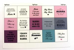 Textark 25mm blandade texter till Mamma, 1 ark