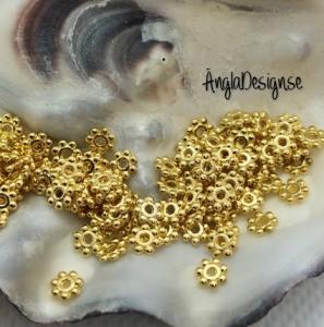Mellandel daisy 4mm guldfärgad, 50-pack