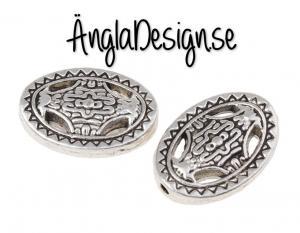 Mellandel stor oval i keltisk stil antiksilver, 5-pack