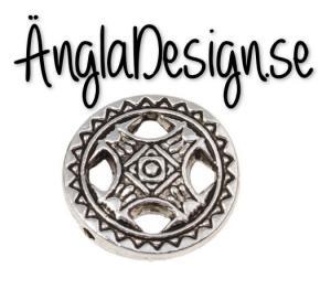 Mellandel antiksilver keltiskt stil rund platt, 1-pack