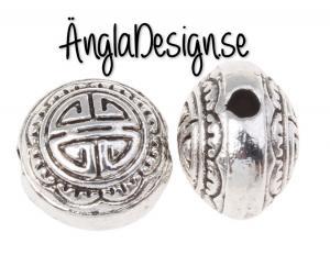 Mellandel antiksilver rund/tjock keltisk stil, 10-pack
