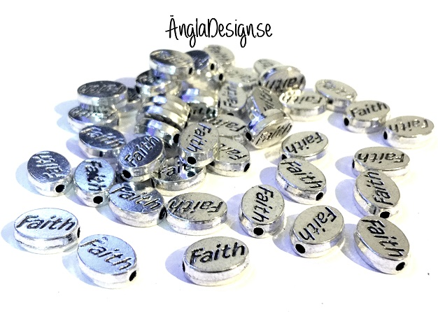 "Mellandel antiksilver ""faith"" 10st"