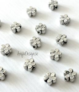 Mellandel antiksilver, liten blomma, 30-pack