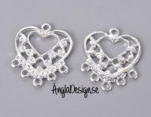 Örhänges chandelier hjärta i ljust silver, 2-pack