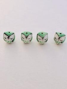 Porslinspärla handgjord sovande uggla grön, 1st