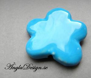 Porslinspärla blomma 38mm, blå, 1st