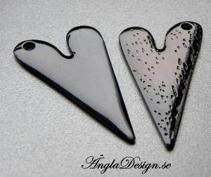 STORPACK Hänge blankt hjärta stämpelbart, 5cm, svart, 10-pack