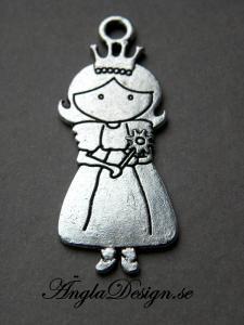 Hänge prinsessa med lång klänning, antiksilver, 1st