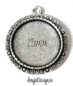 "Berlock ram 25mm antiksilver rund ""love"" 1st"