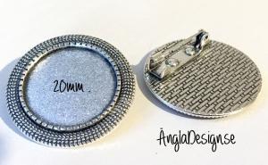 Brosch antiksilver för 20mm, 1st