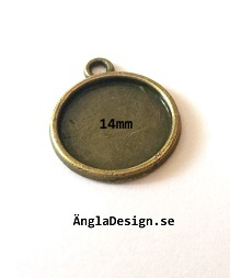 Berlock ram slät brons, för 14mm, 4-pack
