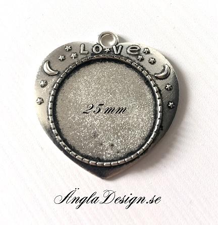 Berlock ram antiksilver, hjärta, innermått: 25mm, 1st