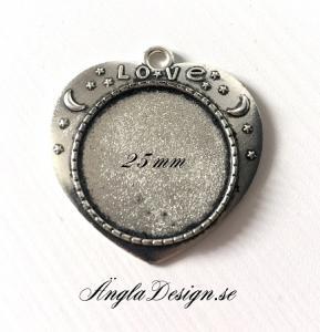Ramberlock antiksilver, hjärta, innermått: 25mm, 1st