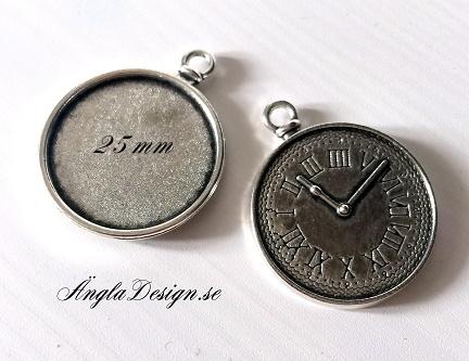 Berlock ram, antiksilver, för 25mm, klocka, 1st