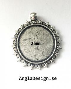Berlock ram med stjärnor antiksilver, 1st