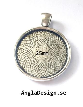 Berlock ram slät antiksilver, för 25mm, 1st