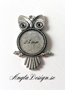 Berlock ram uggla, antiksilver för 25mm, 1st