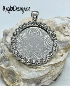 Ramberlock 25mm rundad kant med strass platinum färg pläterad, 1st