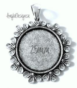 Berlock ram för 25mm, antiksilver med blommor, 1st
