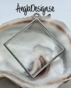 Hänge / resin ram fyrkant, platinum, 1 st