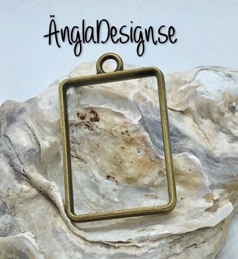 Hänge / resin ram rektangel, brons, 1 st