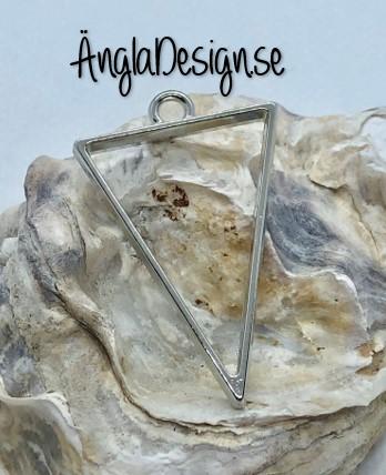 Hänge / resin ram triangel, platinum, 1 st
