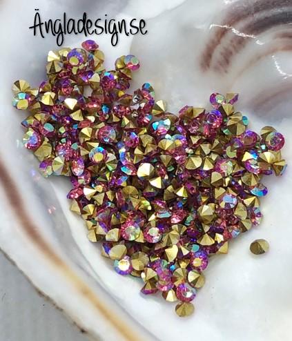 Resin Rhinestone diamantformad 2mm rosa AB, ca 100-pack