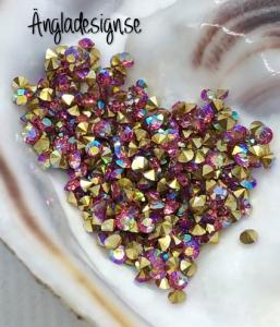 Resin Rhinestone diamantformad 2mm rosa AB, ca 100-pack