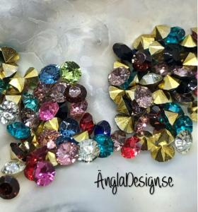 Resin Rhinestone diamantformad 3mm färgmix, ca 100-pack