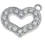 Berlock vackert hjärta med rhinestones, platinum, 1st