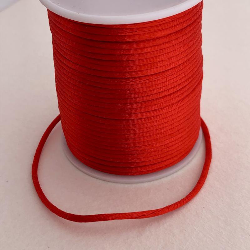 Satintråd/rattail röd 2mm 1meter