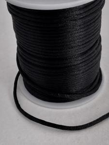 Satintråd/rattail svart 2mm 1meter