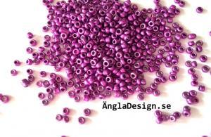 Seedbeads ca 2mm, lila metallic, 23gram