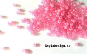 Seedbeads ca 2-3mm, rosa glansiga, 25gram