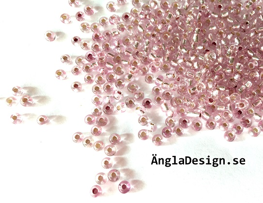Seedbeads ca 3mm, rosa silverline, 25gram