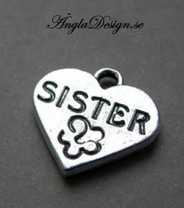"""Berlock hjärta """"sister"""", antiksilver, 3-pack"""