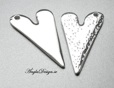 STORPACK Hänge blankt hjärta stämpelbart, 5cm, ljust silver, 10-pack