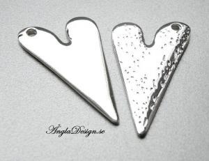 Hänge blankt hjärta stämpelbart, 5cm, ljust silver, 1st