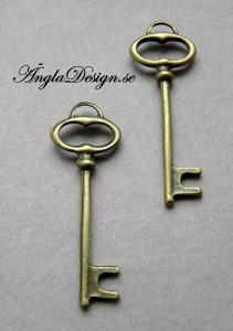 Berlock stilren nyckel, brons, 2-pack