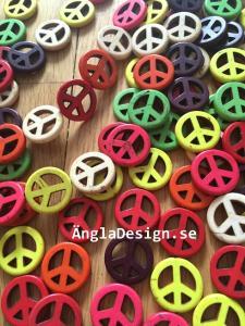 Syntetisk turkos, peacemärken, färgmix, 10-pack