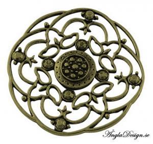 Hänge brons, 5cm, mönstrat stort runt, 1st