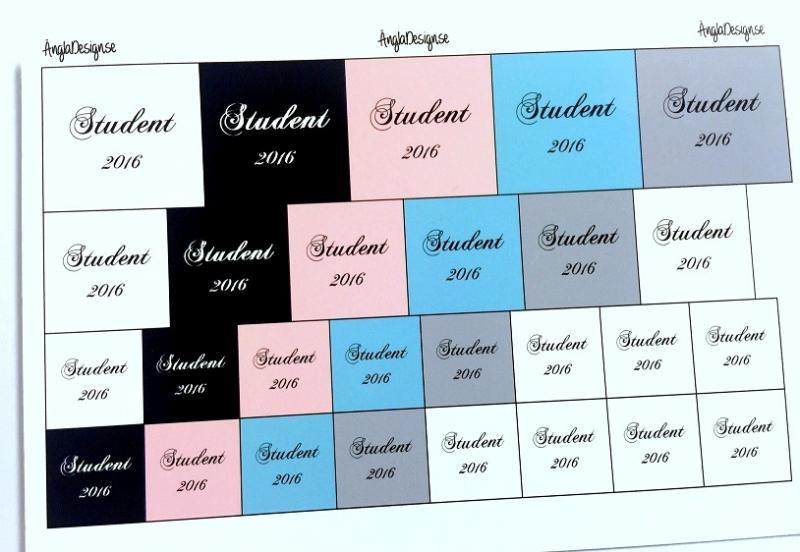 """Budskap/text """"Student 2020"""" storleksmix, 1 ark (1)"""