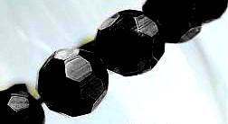 Glaspärlor facetterad rund 6mm svart, 1 sträng